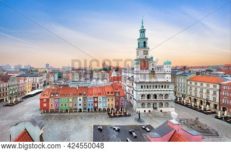 Poznan, Poland. Aerial View Of Rynek (market) Square With Small Colorful Houses And Old Town Hall