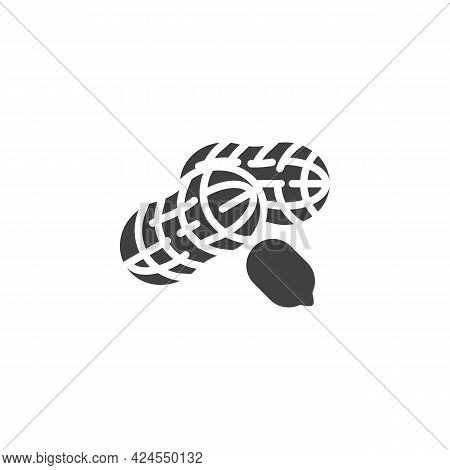 Peanut Nut Vector Icon. Filled Flat Sign For Mobile Concept And Web Design. Peanut Shell Glyph Icon.