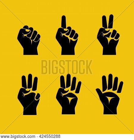 Black Silhouette Figures With Fingers. One, Two, Three, Four, Five Fingers, Fist Like Zero. 1 2 3 4