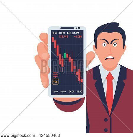 Falling Market. The Trading Broker Is Horrified At The Falling Market. Walking Stock Exchange. Fall