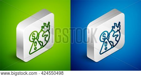 Isometric Line Global Economic Crisis Icon Isolated On Green And Blue Background. World Finance Cris
