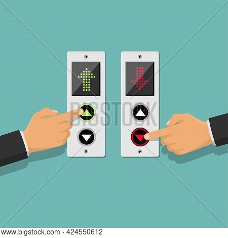 Set Of Icons, Press The Up And Down Button. Button Call Lift. Businessman Presses Elevator. Vector I