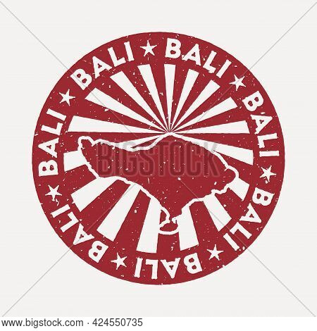 Bali Stamp. Travel Red Rubber Stamp With The Map Of Island, Vector Illustration. Can Be Used As Insi
