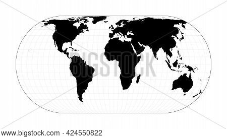 Abstract Map Of World. Eckert Iv Projection. Plan World Geographical Map With Graticlue Lines. Vecto