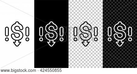 Set Line Dollar Rate Decrease Icon Isolated On Black And White, Transparent Background. Cost Reducti