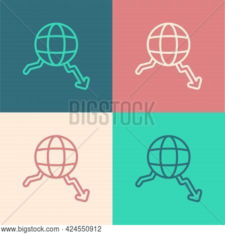 Pop Art Line Global Economic Crisis Icon Isolated On Color Background. World Finance Crisis. Vector