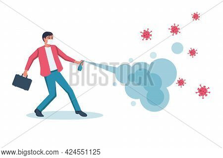 Virus Protection. Man In A Mask With A Protective Shield From Viruses And Bacteria. The Coronavirus