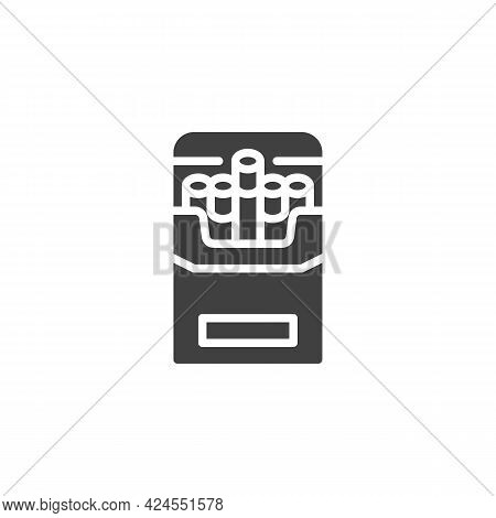Pack Of Cigarettes Vector Icon. Filled Flat Sign For Mobile Concept And Web Design. Open Cigarettes