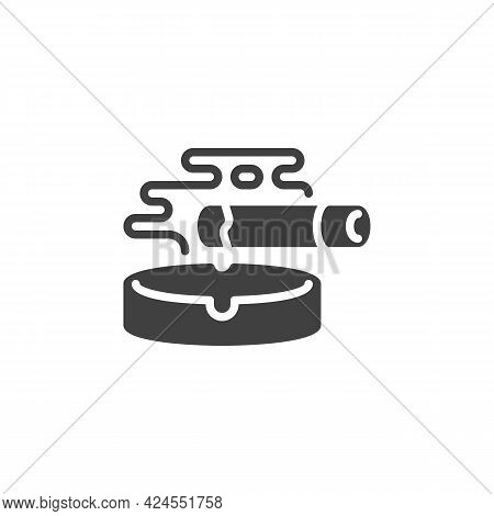 Ashtray And Cigarette Vector Icon. Filled Flat Sign For Mobile Concept And Web Design. Smoking Cigar