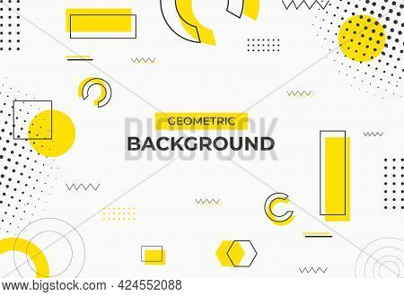 Geometric Background Yellow And Black Color. White Geometric Background Design. Vector Illustrations