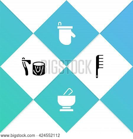 Set Wooden Axe In Stump, Mortar And Pestle, Sauna Mittens And Hairbrush Icon. Vector