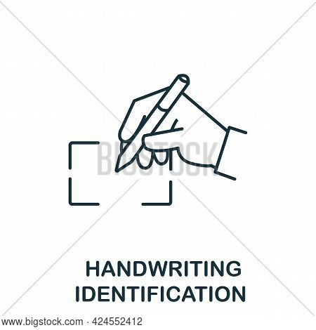 Handwriting Identification Icon From Authentication Collection. Simple Line Element Handwriting Iden