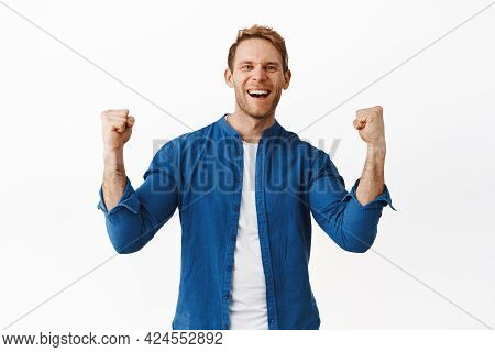 Happy Redhead Man Winning And Celebrating, Clench Fists, Fist Pump And Say Yeah Yes, Achieve Goal, S