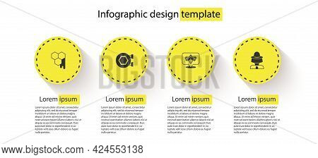 Set Honeycomb, Hanging Sign With Honeycomb, Bee And Beekeeper Protect Hat. Business Infographic Temp