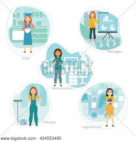 Professional Activity Set. Female Accountant, Logistician, Manager, Builder, Chef. Smiling Girls Of