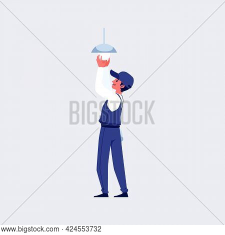 Electrician Assembly A Lighting Fixture, Flat Vector Illustration Isolated.