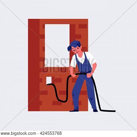 Professional Man Electrician Worker Performs Installation Wiring For Electric.