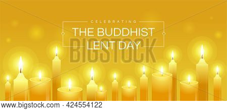 Celebrating The Buddhist Lent Day Text In Frame And Yellow Candles Light To Pray On Yellow Backgroun