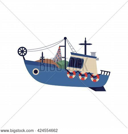 Small Fishing Boat Or Launch With Nets, Flat Vector Illustration Isolated.