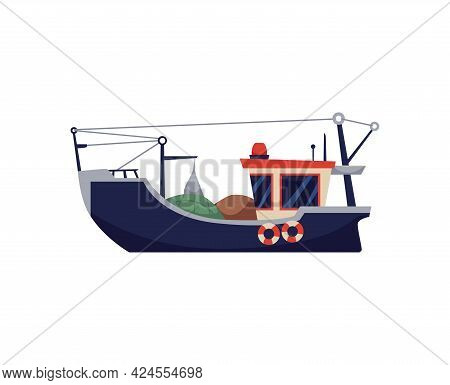 Fishing Boat, Vessel With Equipment For Commercial Fish Catch At Sea Or Ocean.