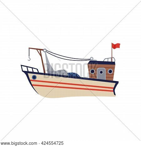 Fishing Trawler Or Boat With Net Hoist, Flat Vector Illustration Isolated.