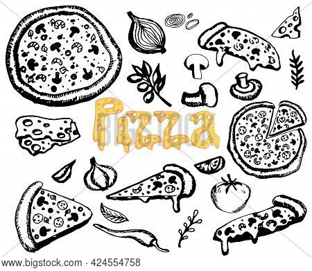 Pizza Doodle Black Line Set. Italian Hand Drawn Pizzas With Mushrooms, Pepper, Tomato, Olive, Cheese