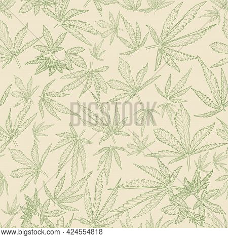 Hand-drawn Hemp. Sketch Of Cannabis Leaves Vector Seamless Pattern. A Bunch Of Detailed Natural Patt