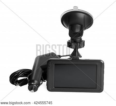 Modern Car Dashboard Camera With Suction Mount And Charger On White Background