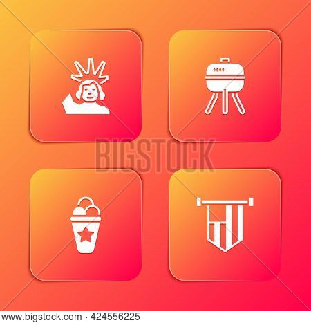 Set Statue Of Liberty, Barbecue Grill, Ice Cream In Waffle Cone And American Flag Icon. Vector