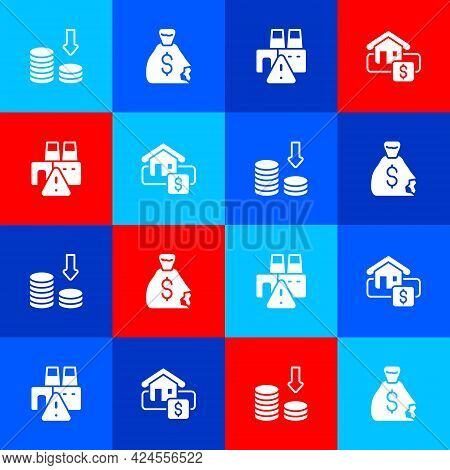 Set Dollar Rate Decrease, Money Bag, Shutdown Of Factory And Hanging Sign With Sale Icon. Vector