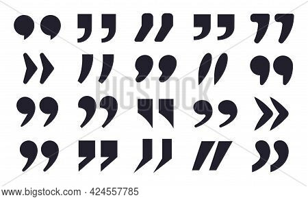 Quote Icon. Quotations Marks Symbols, Double Comma Punctuation Text Signs. Quote Mark Black Silhouet