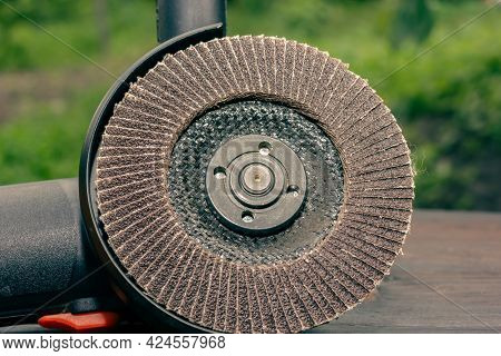 Abrasive Wheel For A Grinder. Angle Grinder. Hand Tool For Grinding. Electric Tool.