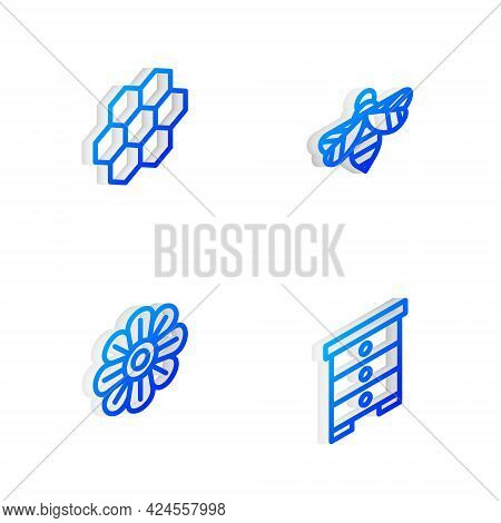 Set Isometric Line Bee, Honeycomb, Flower And Hive For Bees Icon. Vector