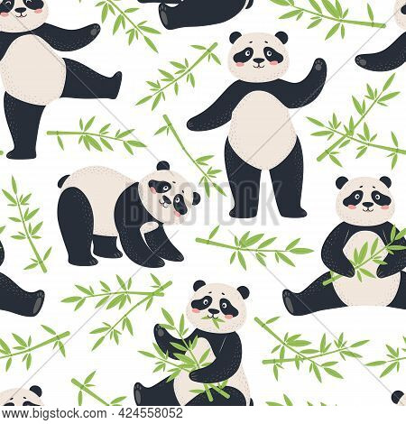 Panda Pattern. Cute Pandas With Bamboo Leaves. Cartoon Happy Asian Bear Characters Animal Child Fabr
