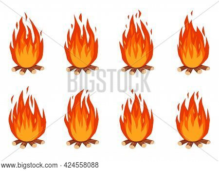 Bonfire Animation. Cartoon Burning Campfire With Firewood. Fire Flames Effect Animated Sprites Frame