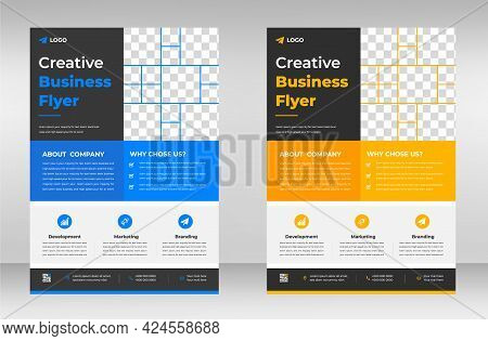 Corporate Business Flyer Template Design Set With Blue And Yellow Color. Marketing, Business Proposa