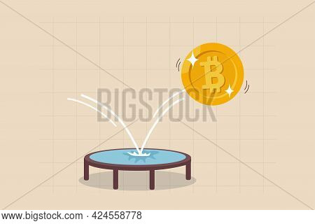 Bitcoin Price Rebound, Crypto Currency Bounce Back To Rising Up After Falling Down Concept, Golden B