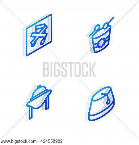 Set Isometric Line Ramadan Drum, Speaker Mute, Table Food And Turkish Hat Icon. Vector