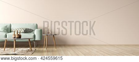 Modern Interior Design Of Living Room. Green Sofa, And Wooden Coffee Tables Over Beige Wall With Cop