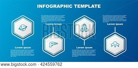 Set Line Planet Saturn, Ray Gun, Rocket Ship And Ufo Flying Spaceship. Business Infographic Template