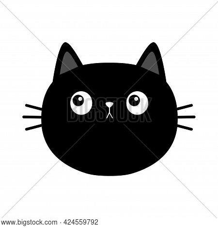 Black Cat Kitten Round Head Face Looking. Cute Cartoon Character. Kawaii Baby Pet Animal. Scandinavi