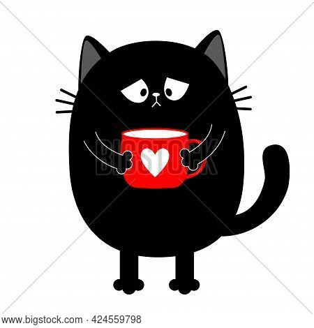 Cat Kitten Holding Coffee Cup. Miss You. Sad Grumpy Bad Emotion Face. Cute Cartoon Kitty Character.