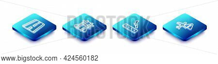 Set Isometric Line Airport Runway, Parachute, Plane Landing And Warning Aircraft Icon. Vector