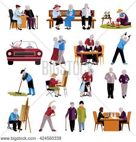 Elderly People Icons Set. Elderly People Vector Illustration. Elderly People Isolated Icons. Elderly
