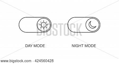 Day And Night Mode Switch Vector Line Icons Isolated On White Background. Dark And Light Mode Icons.