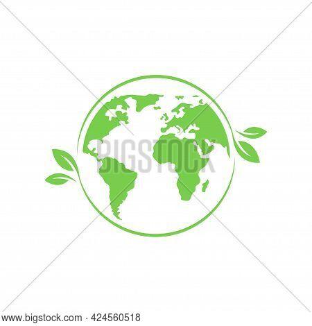 Green Eco World Icon. Ecological Earth Concept Logo. Green Planet. Planet Earth. Ecology Concept. En