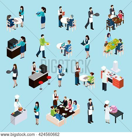 Restaurant Cafe Bar Personnel And Customers Isometric Icons Set With Waiters Attending Tables Abstra