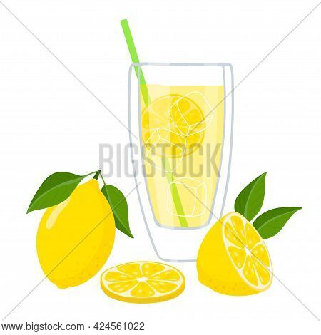 Refreshing Lemonade. Clear Drink Glass, Straw For Drinking, Ice Cubes, Pieces Of Lemon. Summer Yello
