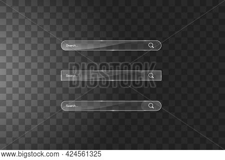 Search Bar Template. Vector Web Search Illustration. Transparent Glass Search Bar