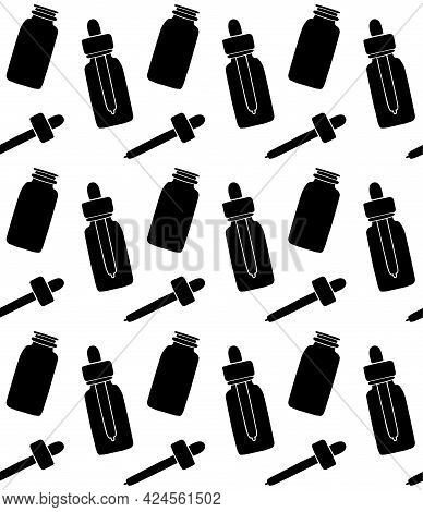 Vector Seamless Pattern Of Black Hand Drawn Doodle Sketch Oil Essence Bottle Isolated On White Backg